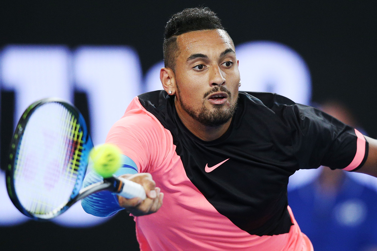 Nick Kyrgios during the Tie Break Tens ahead of the 2018 Australian Open. Pic: Michael Dodge/Getty Images