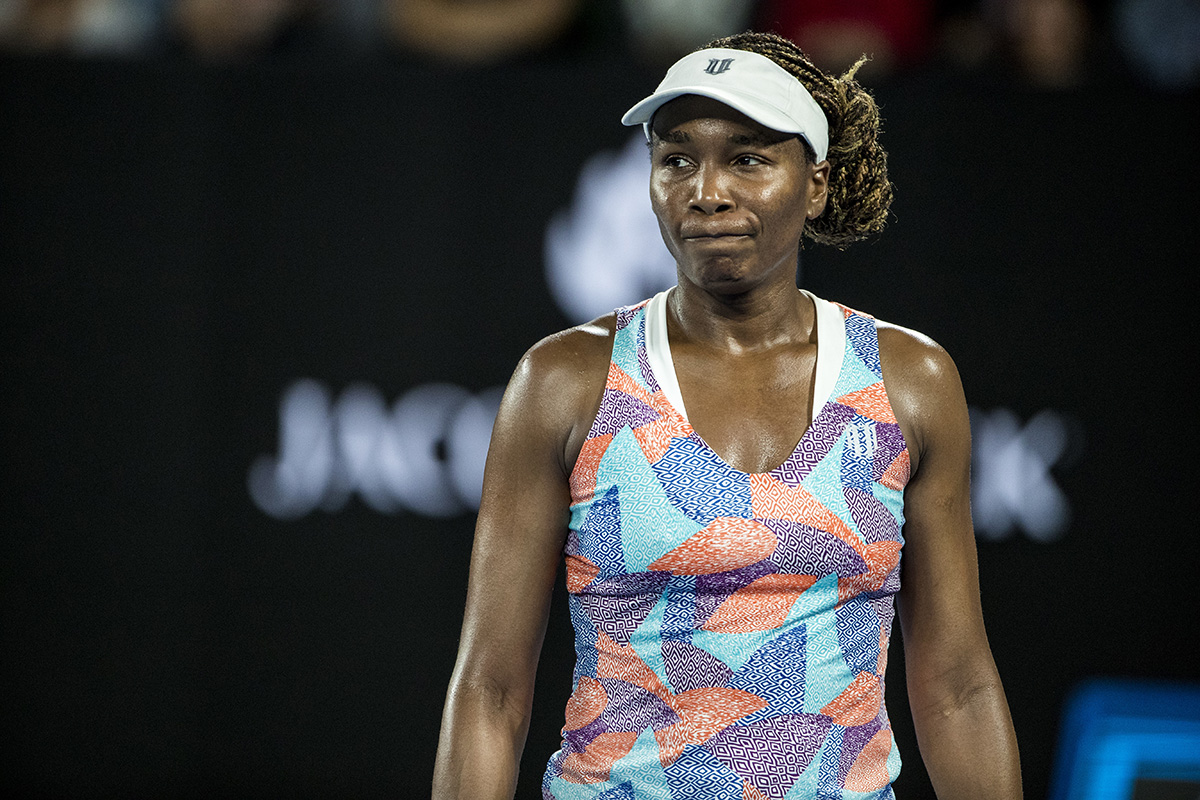 Venus Williams shows her dismay during her first round loss. Pic: Jason Heidrich/Icon Sportswire via Getty Images)