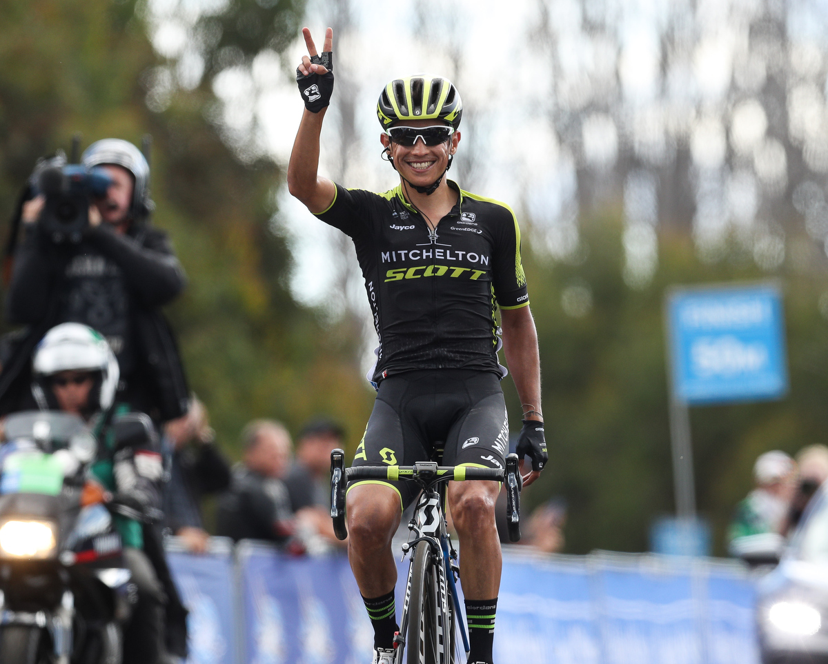 Esteban Chaves wins the Jayco Herald Sun Tour stage 3. pic: Con Chronis/Getty Images