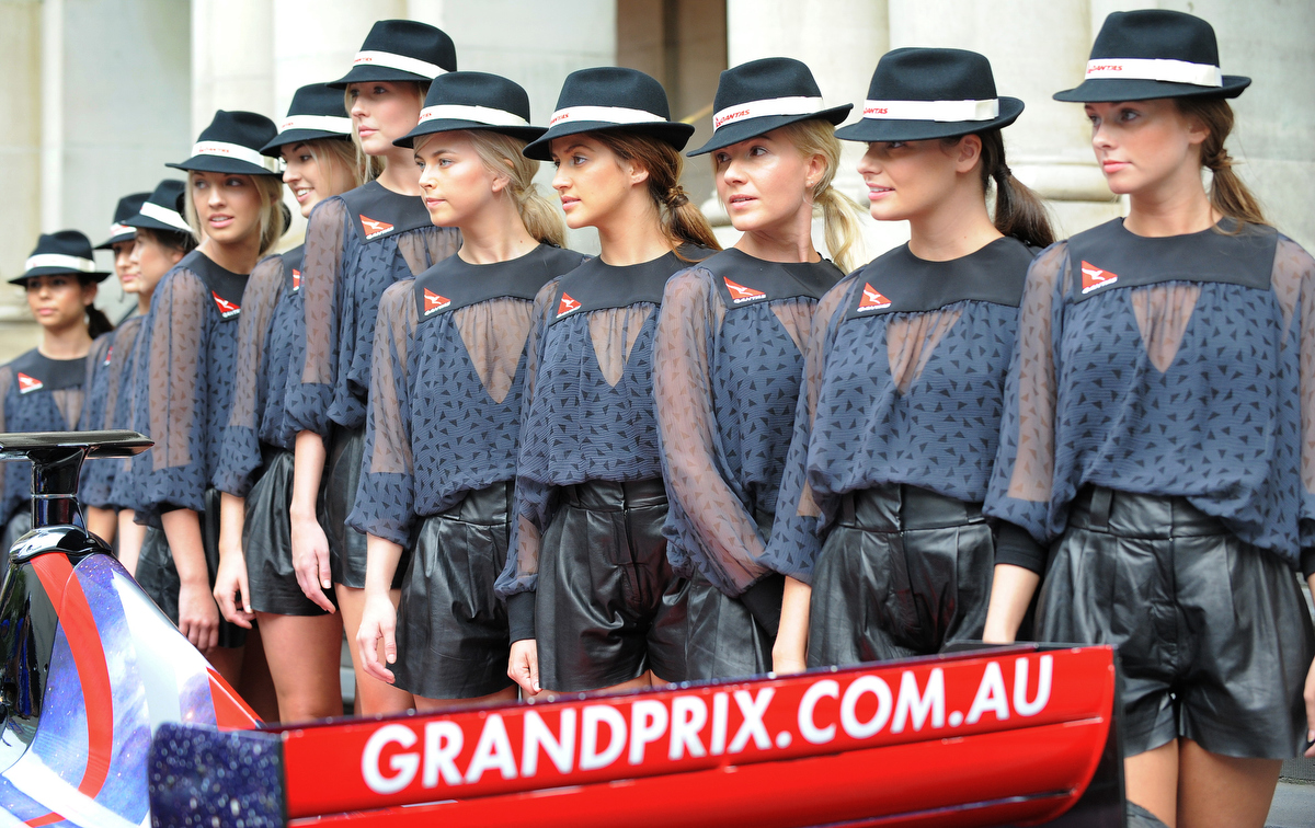 Grid girls from the Melbourne Grand Prix. Pic: WILLIAM WEST/AFP/Getty Images.