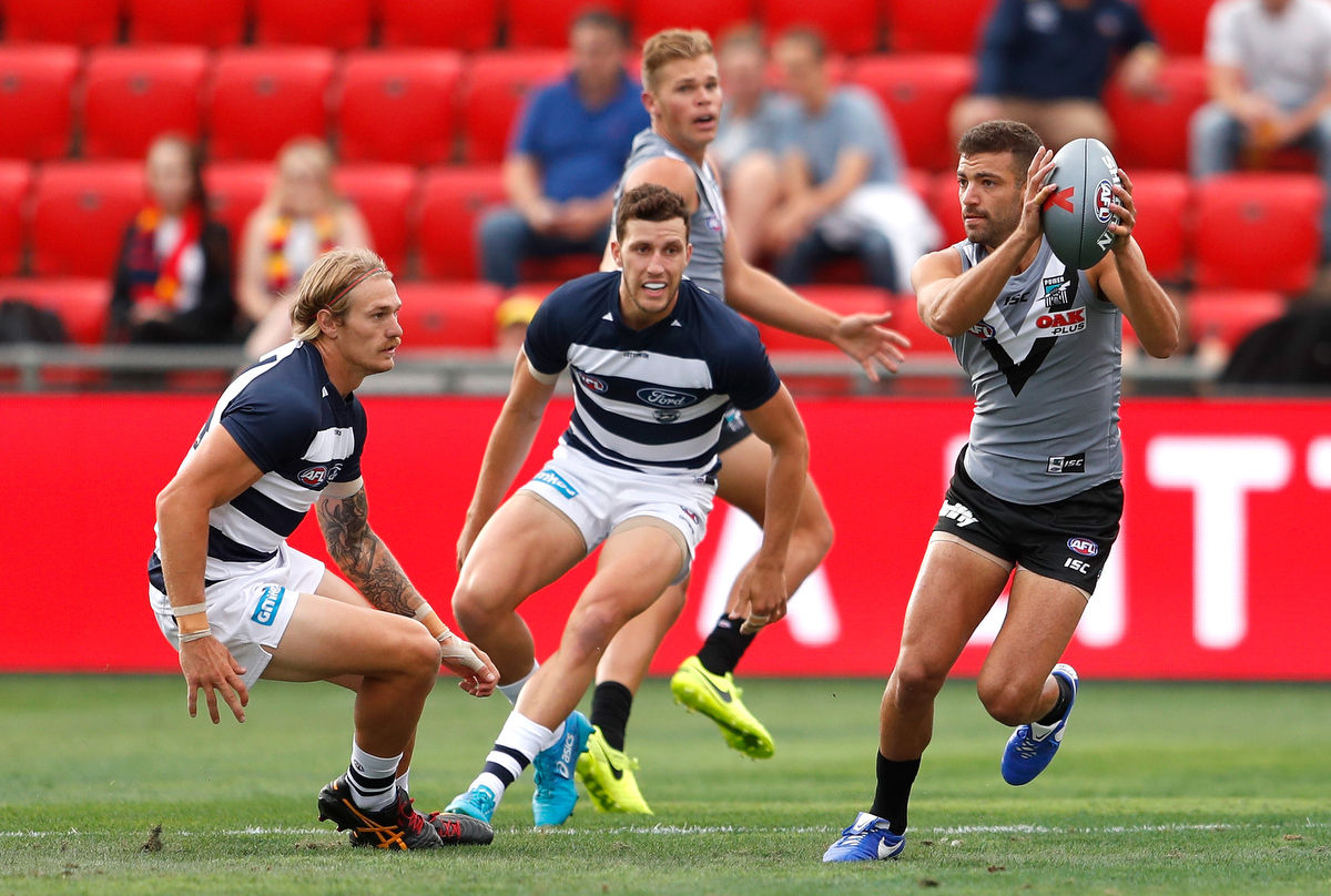 Port Adelaide and Geelong battle it out in the AFLX. Pic:  Michael Willson/AFL Media/Getty Images