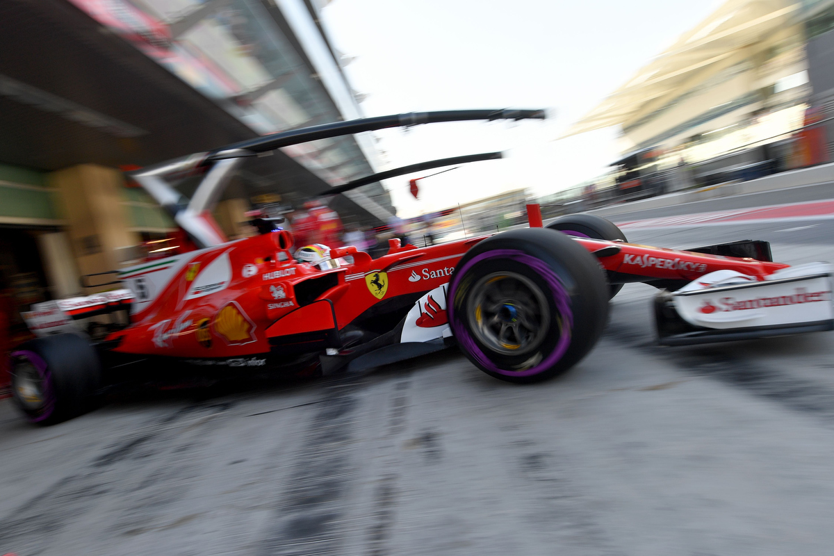 Sebastian Vettel steers his car in the pits Pic: ANDREJ ISAKOVIC/AFP/Getty Images