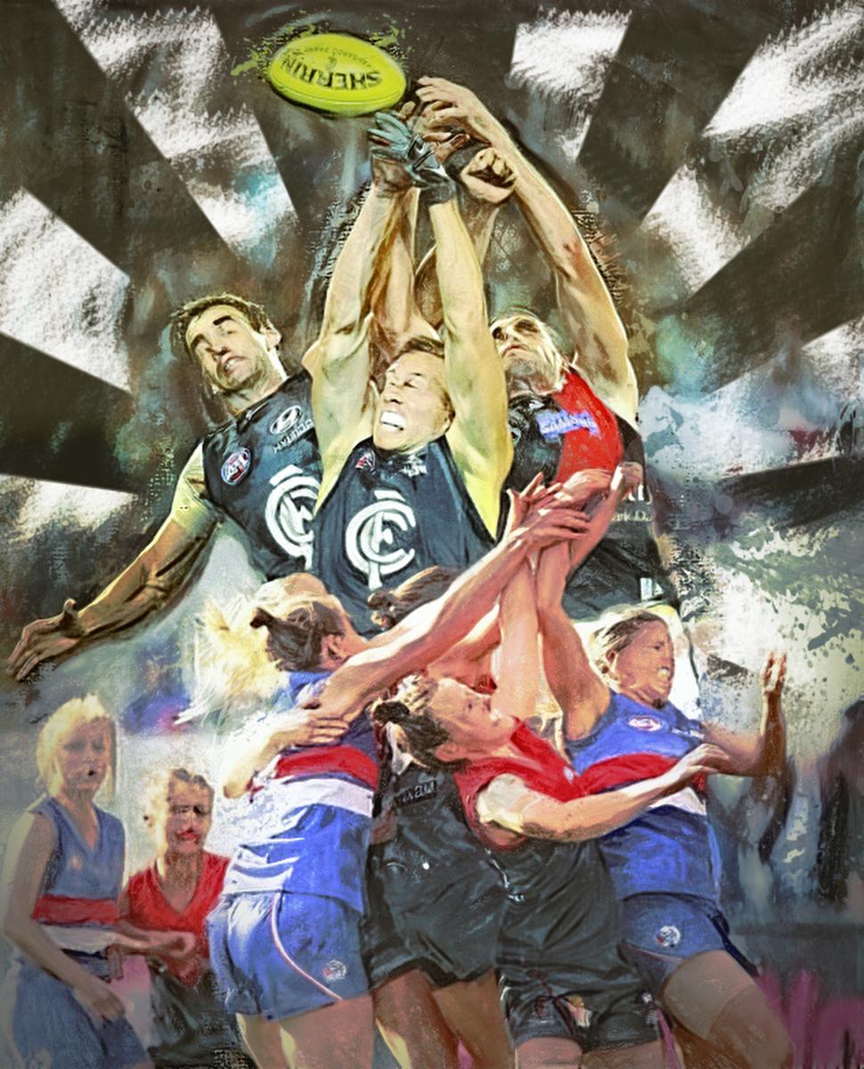 And the big men (and little women) fly.  Artwork Gordon Napier.