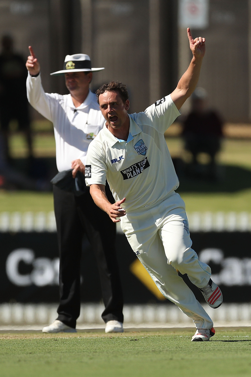 Steven O'Keefe celebrates taking a wicket. Pic: Kelly Defina/Getty Images