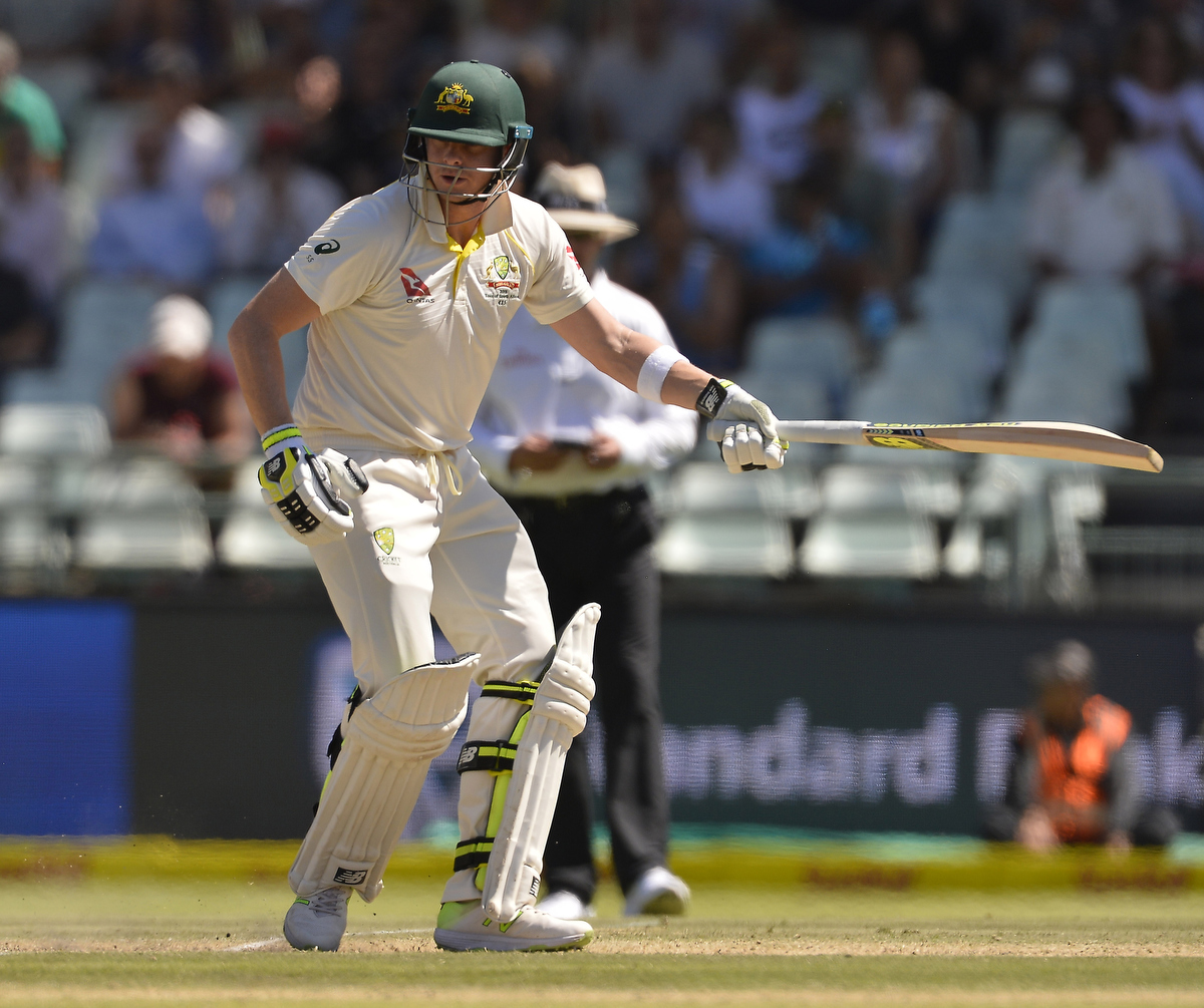Steve smith during his short innings in the 3rd test. Pic: Ashley Vlotman/Gallo Images