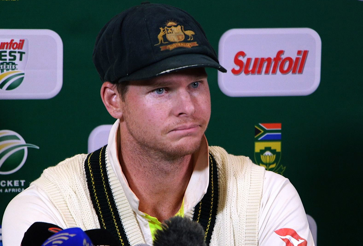 Steve Smith during the press conference. Pic: STR/AFP/Getty Images