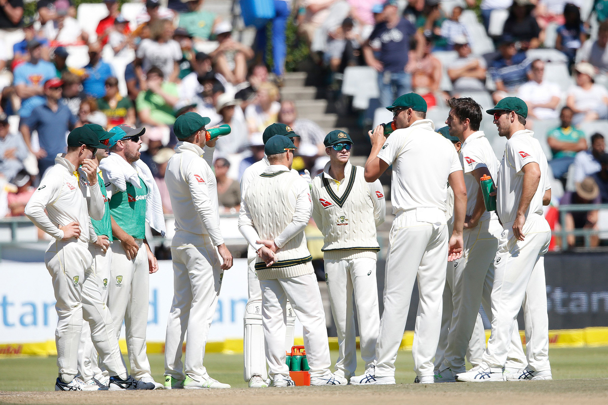 The Australian team during the fourth day of the third Test. Pic: GIANLUIGI GUERCIA/AFP/Getty Images