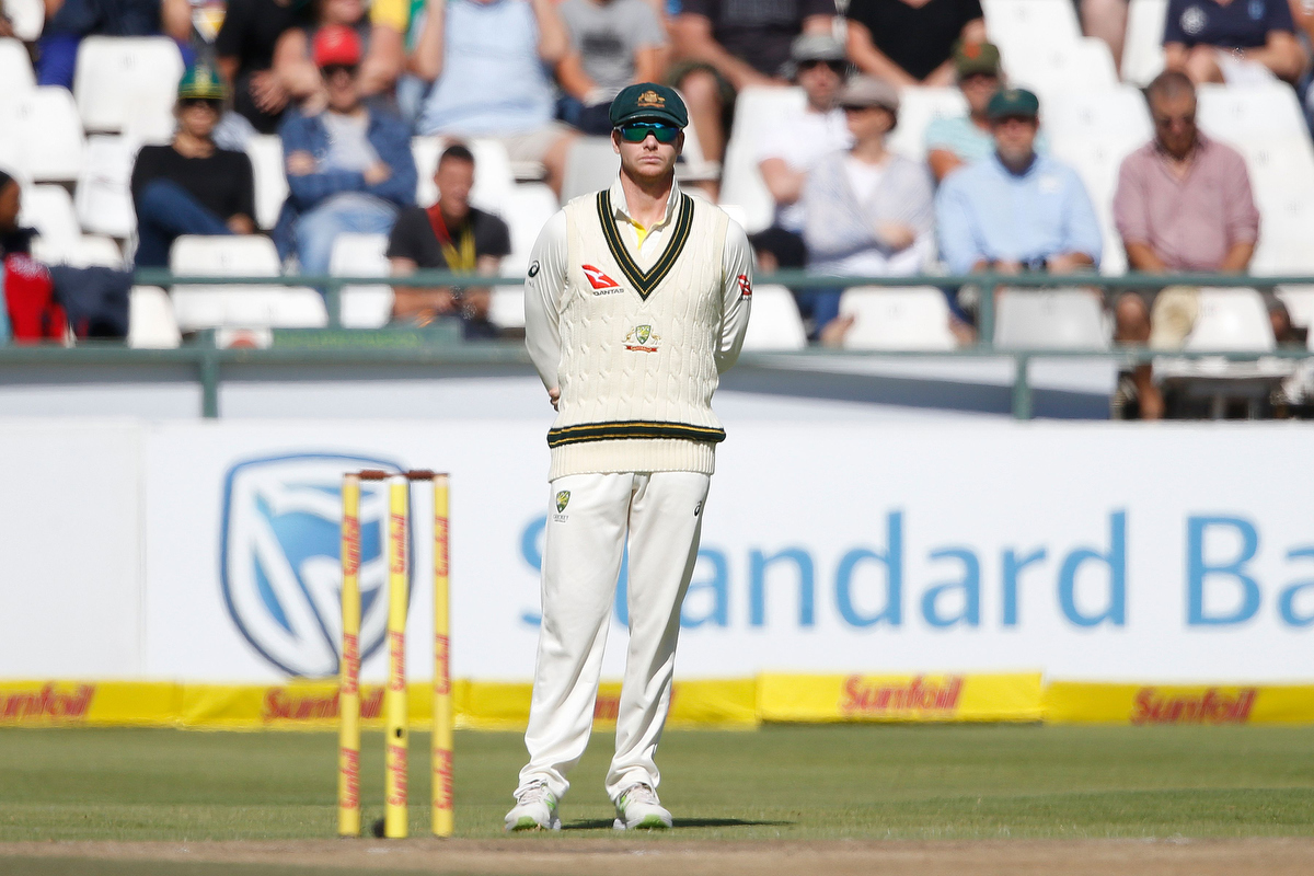 Steve Smith on the ground during Day 4 but no longer captain. Pic: GIANLUIGI GUERCIA/AFP/Getty Images