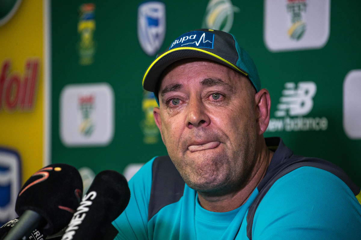 Darren Lehmann at this press conference announcing his departure as coach. WIKUS DE WET/AFP/Getty Images.