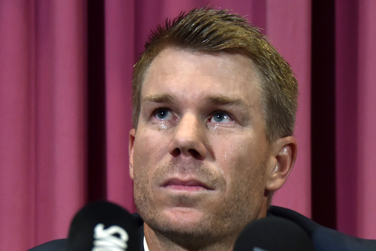 David Warner at his press conference. Pic:  PETER PARKS/AFP/Getty Images