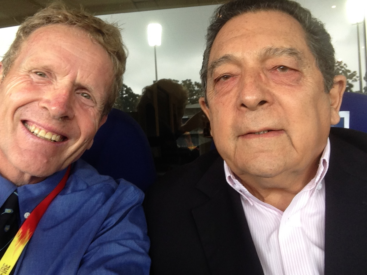 Dr Ali Bacher with Sportshounds Ken Piesse during the 4th Test.