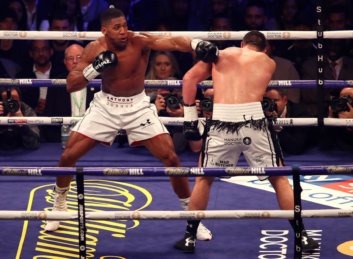 Anthony Joshua fights Joseph Parker during there WBA, IBF, WBO, IBO Heavyweight Championship title fight. Pic: Julian Finney/Getty Images