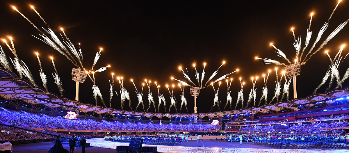 The fireworks at the conclusion of the Opening Ceremony
