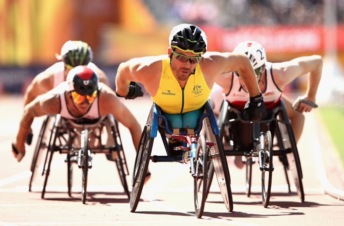 Kurt Fearnley in the Men's T54 1500m heats. Pic: Cameron Spencer/Getty Images