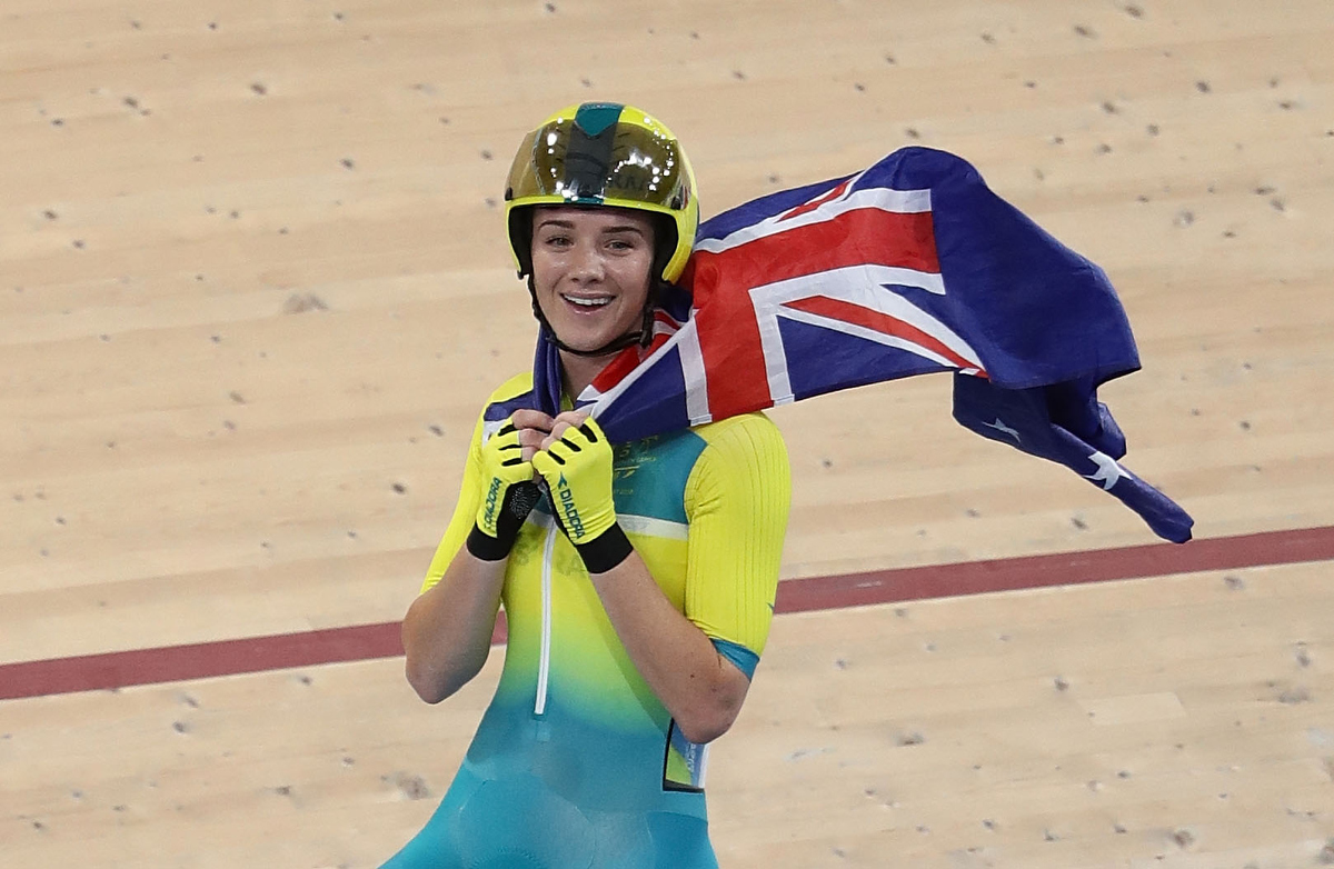 Amy Cure of Australia celebrates winning the Women's Scratch Race Final. Pic: Robert Cianflone/Getty Images