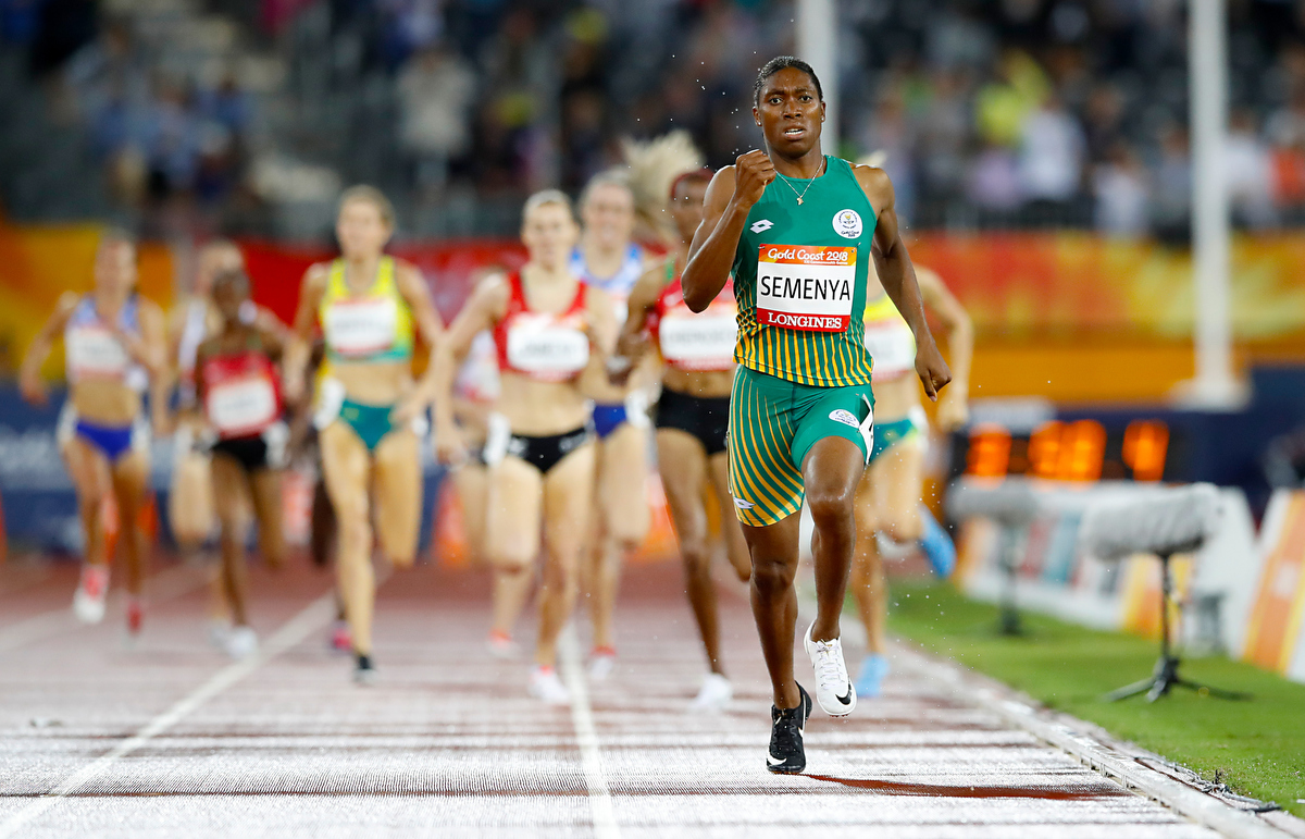 Caster Semenya on her way to winning gold in the Women's 1500m Final. Pic: Martin Rickett/PA Images via Getty Images