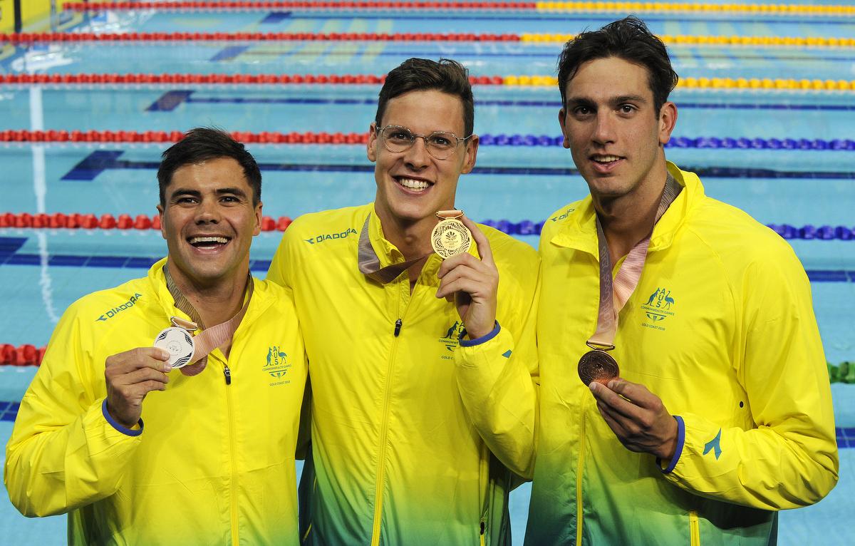 Commonwealth Games. Swimming Finals Night 4. Medal Ceremony for the Men's 50m Backstroke Final. Benjamin TREFFERS, Mitch LARKIN and Zac INCERTI