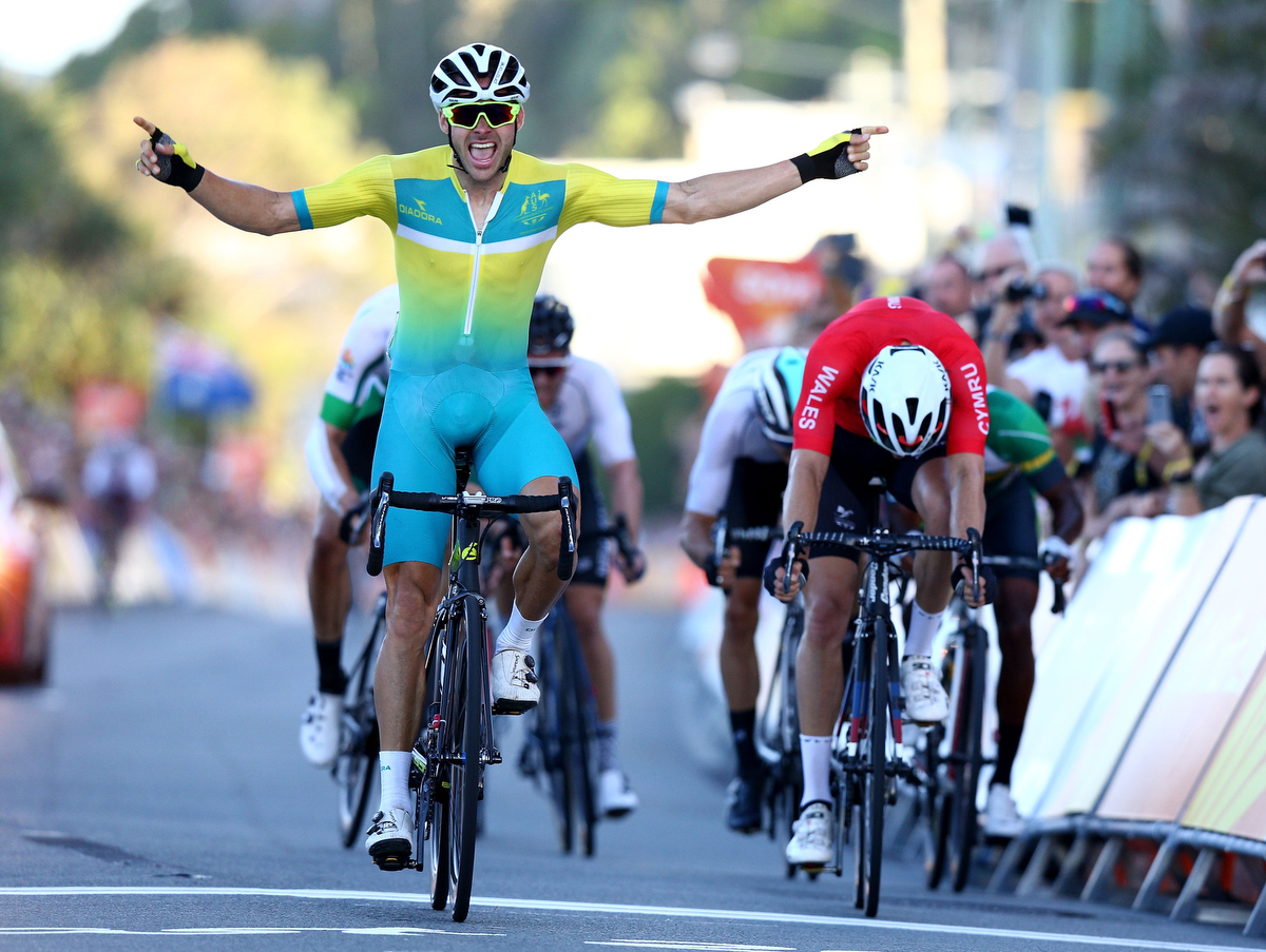 Steele Von Hoff crosses the finish line in the road race. Pic: Michael Dodge/Getty Images