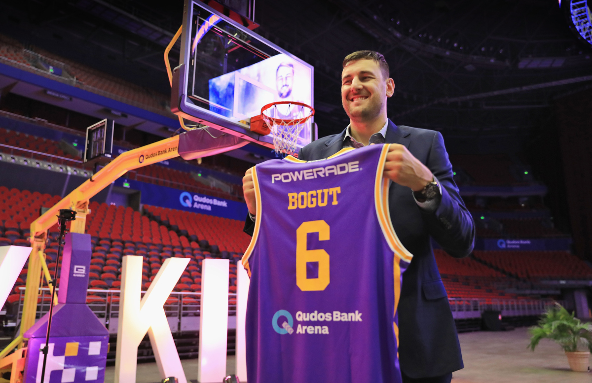 Andrew Bogut after signing with the Sydney Kings. Pic: Mark Evans/Getty Images