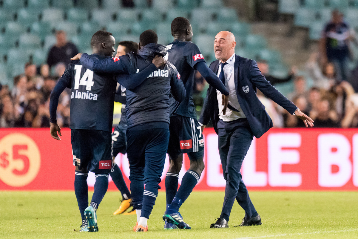 Melbourne Victory celebrate after winning their Semi Final over Sydney. Pic: Speed Media/Icon Sportswire via Getty Images