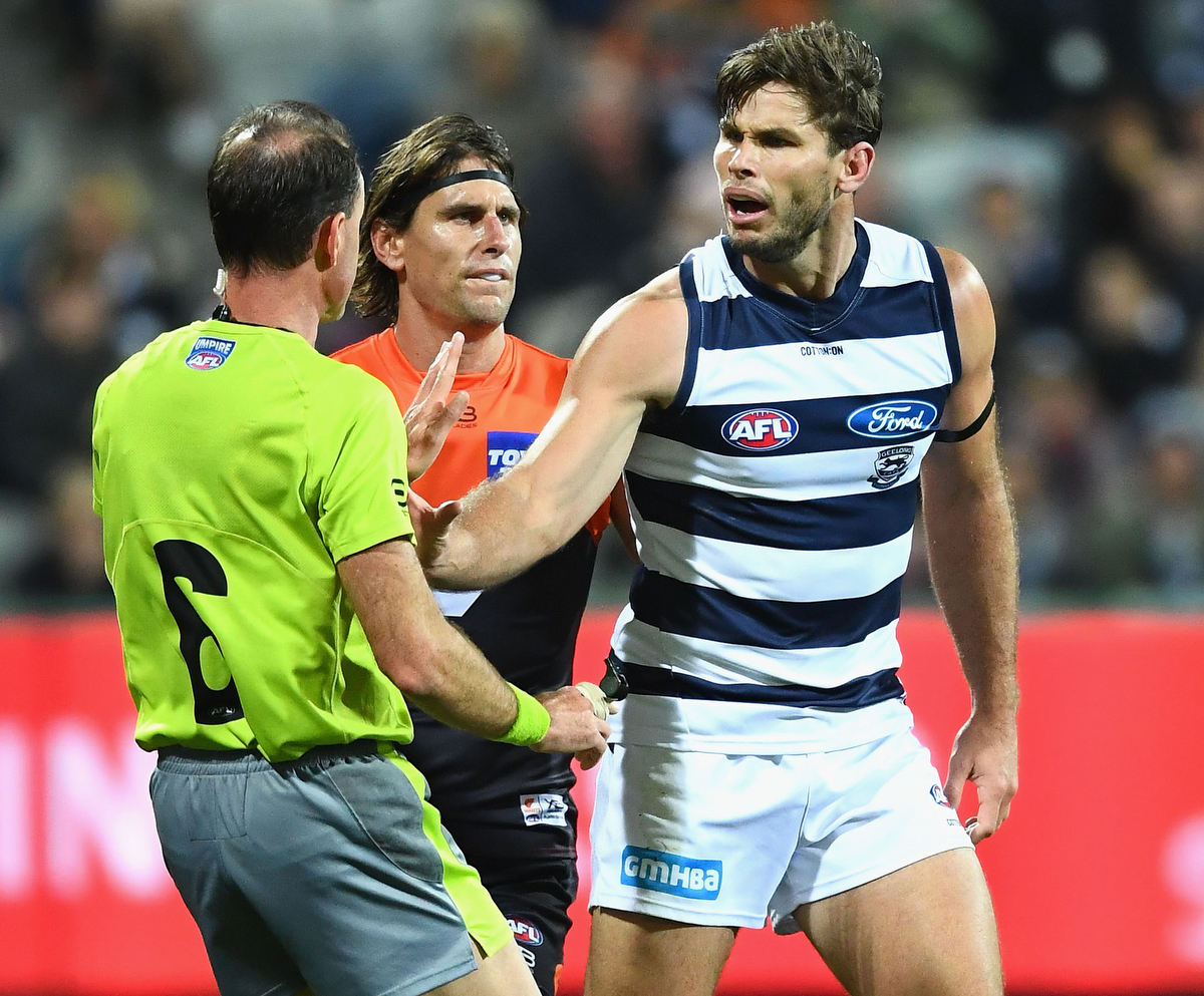 Tom Hawkins altercation with the umpire cost him a week on the sidelines. Pic: Quinn Rooney/Getty Images