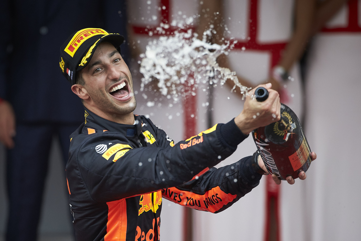 Daniel Ricciardo celebrates on the podium. Pic: Steve Etherington/Getty Images