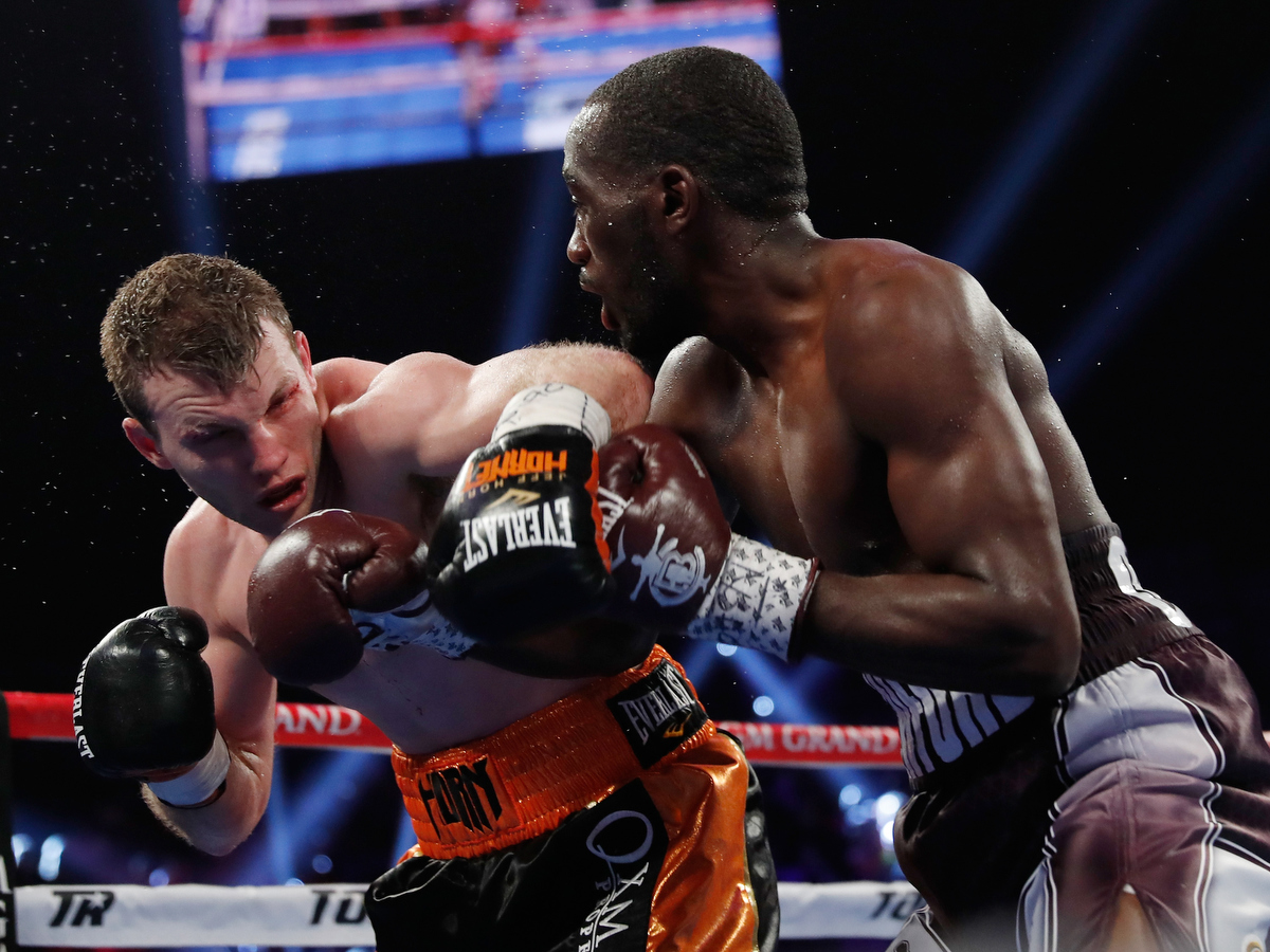 LAS VEGAS, NV - JUNE 09: Jeff Horn and Terence Crawford battle in the fifth round. Pic: Steve Marcus/Getty Images