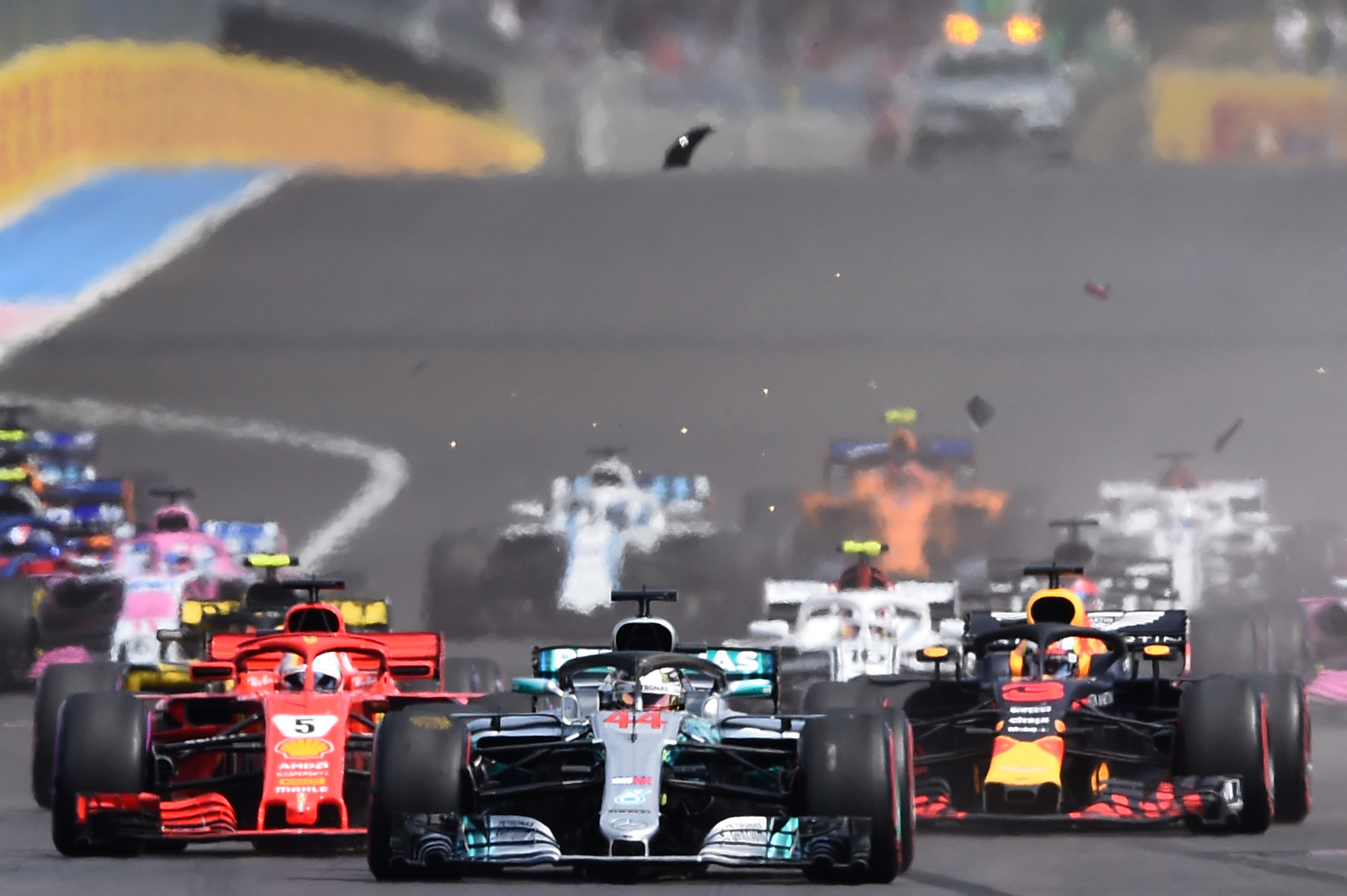 Car parts fly as drivers crash at the start of the French Grand Prix Pic: BORIS HORVAT/AFP/Getty Images