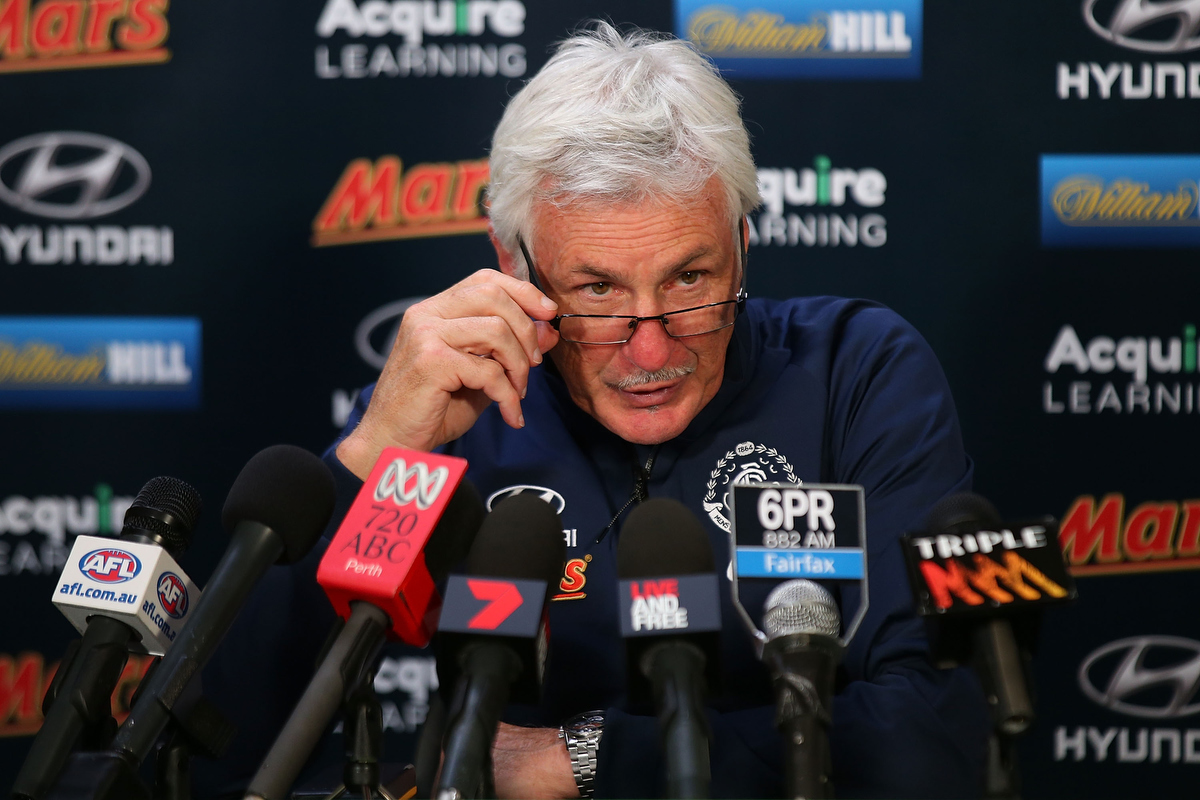 Heated press conferences often went hand in hand with Mick Malthouse pic: Paul Kane/Getty Images