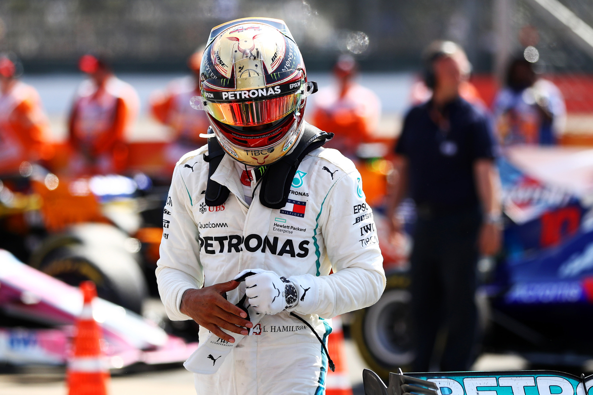 Lewis Hamilton in the parc ferme Pic: Dan Istitene/Getty Images