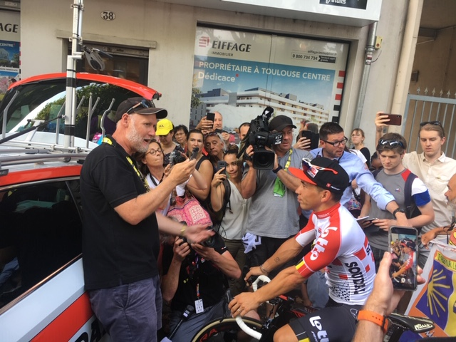 Sportshounds' Ian Cohen speaks to Australian sprinter Caleb Ewan after a big day at the Tour de France