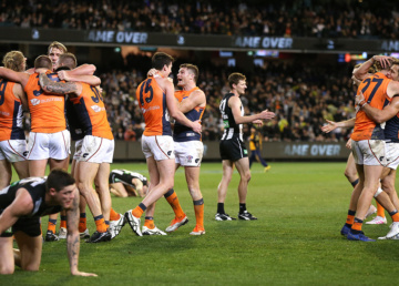 GWS celebrate their victory over Collingwood
