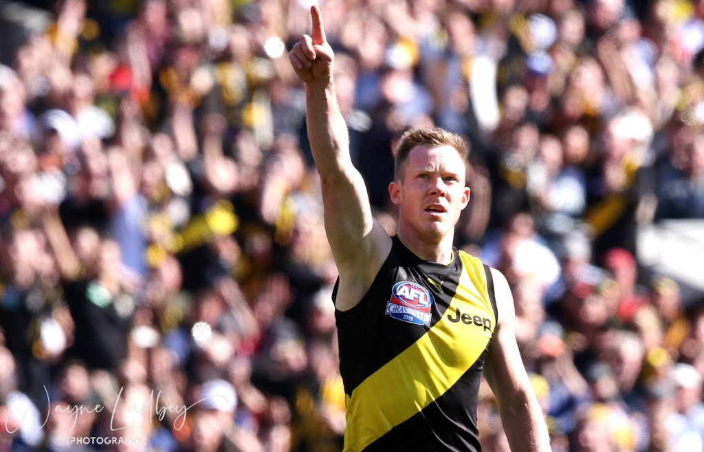 Tiger Jack Riewoldt celebrates a goal
