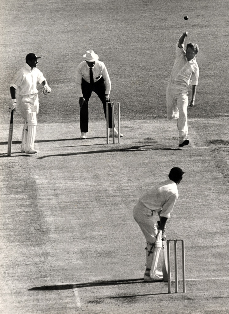 "BRISBANE 1970: Thomson to Brian Luckhurst. It was the first ball of the 1970-71 Ashes series and was mistakenly ""called"" by umpire Lou Rowan... the ""Frog"" had already released the ball and his front foot had not landed. Bruce Postle archives"