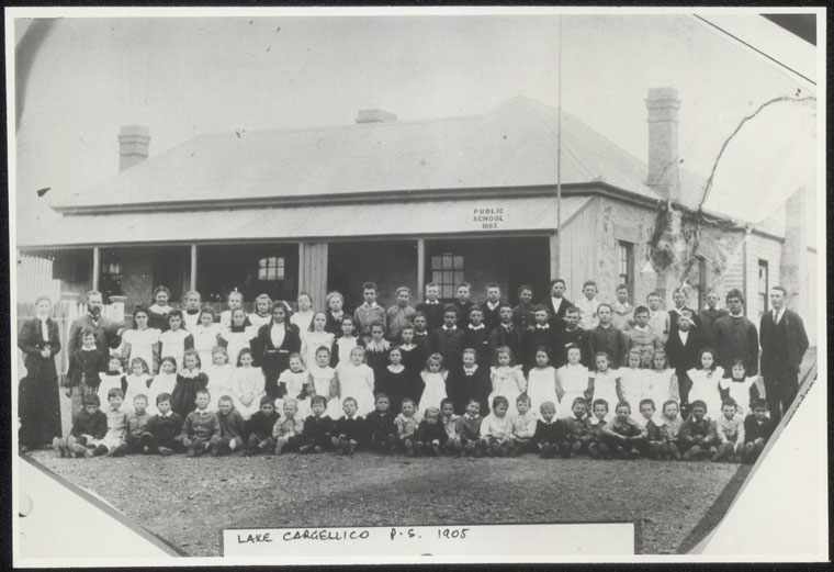 Lake Cargelligo Public School  - [group photograph in front of building]