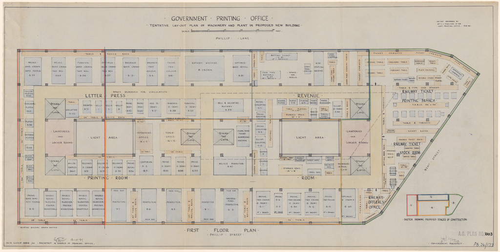 Sydney Government Printing Office Proposed Lay Out Of New: building plan printing