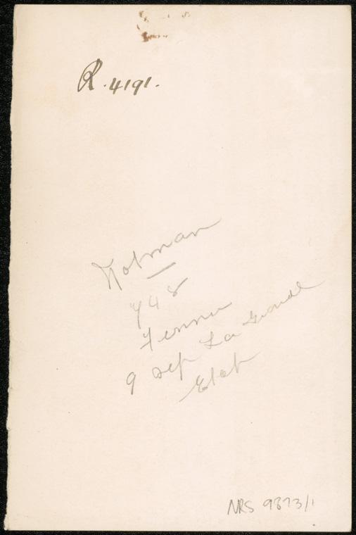 Photograph of Norman Edgar Feaner [Fenner] doctor [reverse]