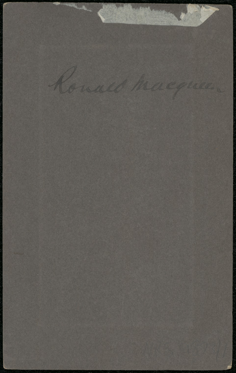Photograph of Ronald Alan Archibald Macqueen doctor [reverse]