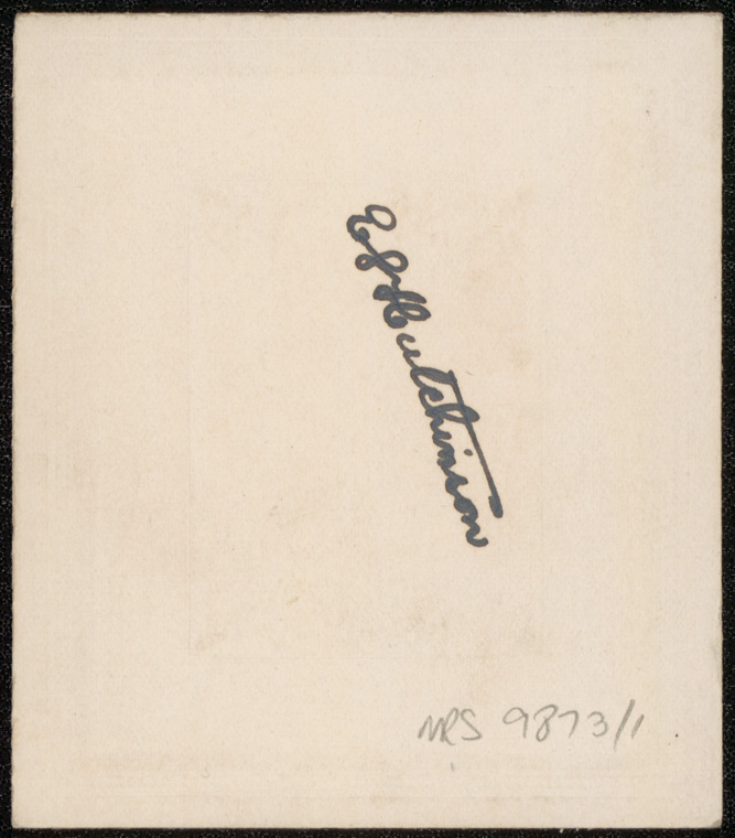 Photograph of Eric Lloyd Hutchinson doctor [reverse]
