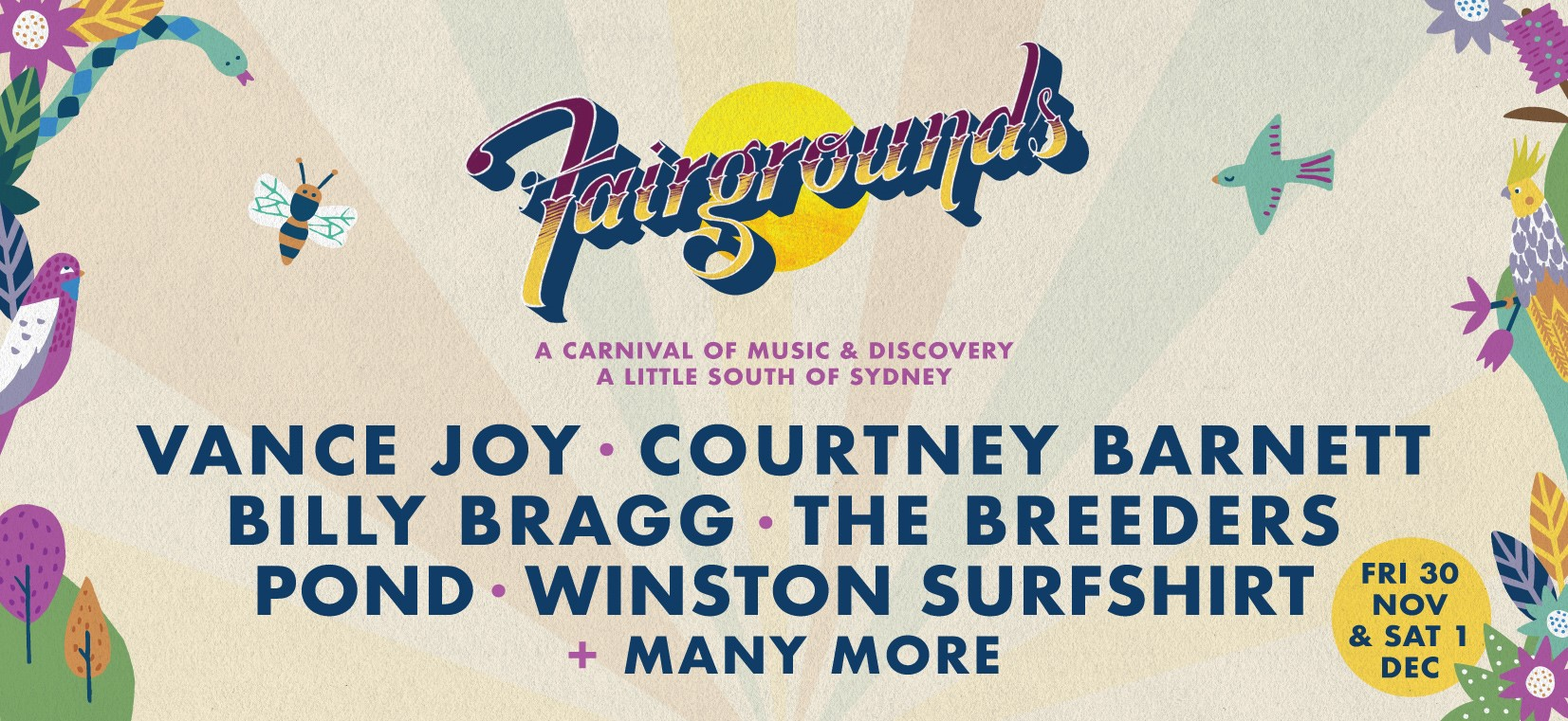 Vance Joy, Courtney Barnett, Pond and Winston Surfshirt headline Fairgrounds Festival 2018