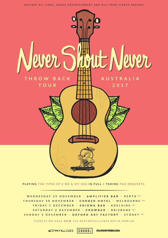 buy never shout never throwback tour australia 2017. Black Bedroom Furniture Sets. Home Design Ideas