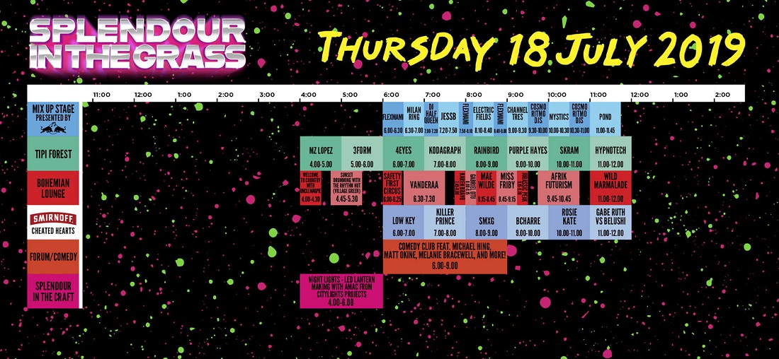 SITG set times - Thursday