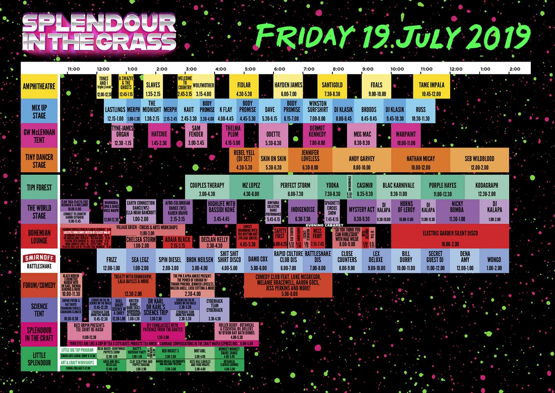 SITG set times - Friday