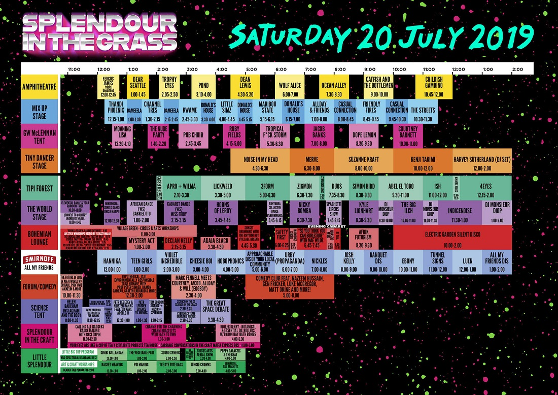 SITG set times - Saturday