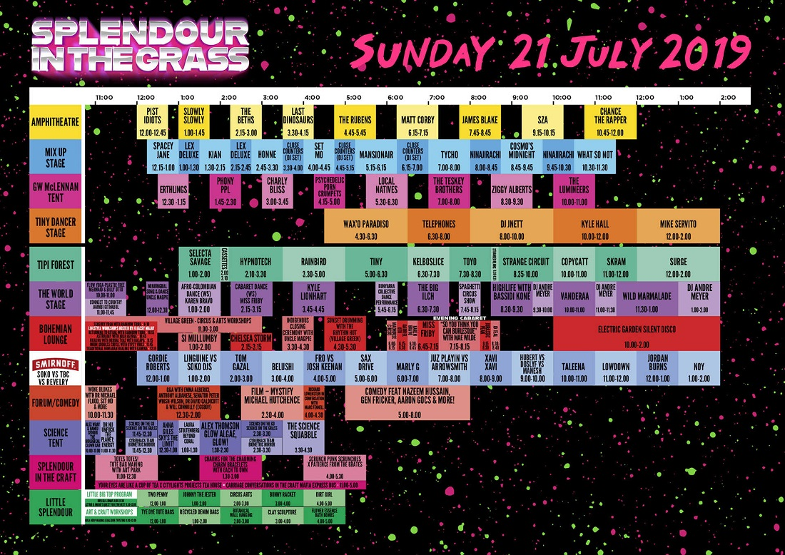 SITG set times - Sunday