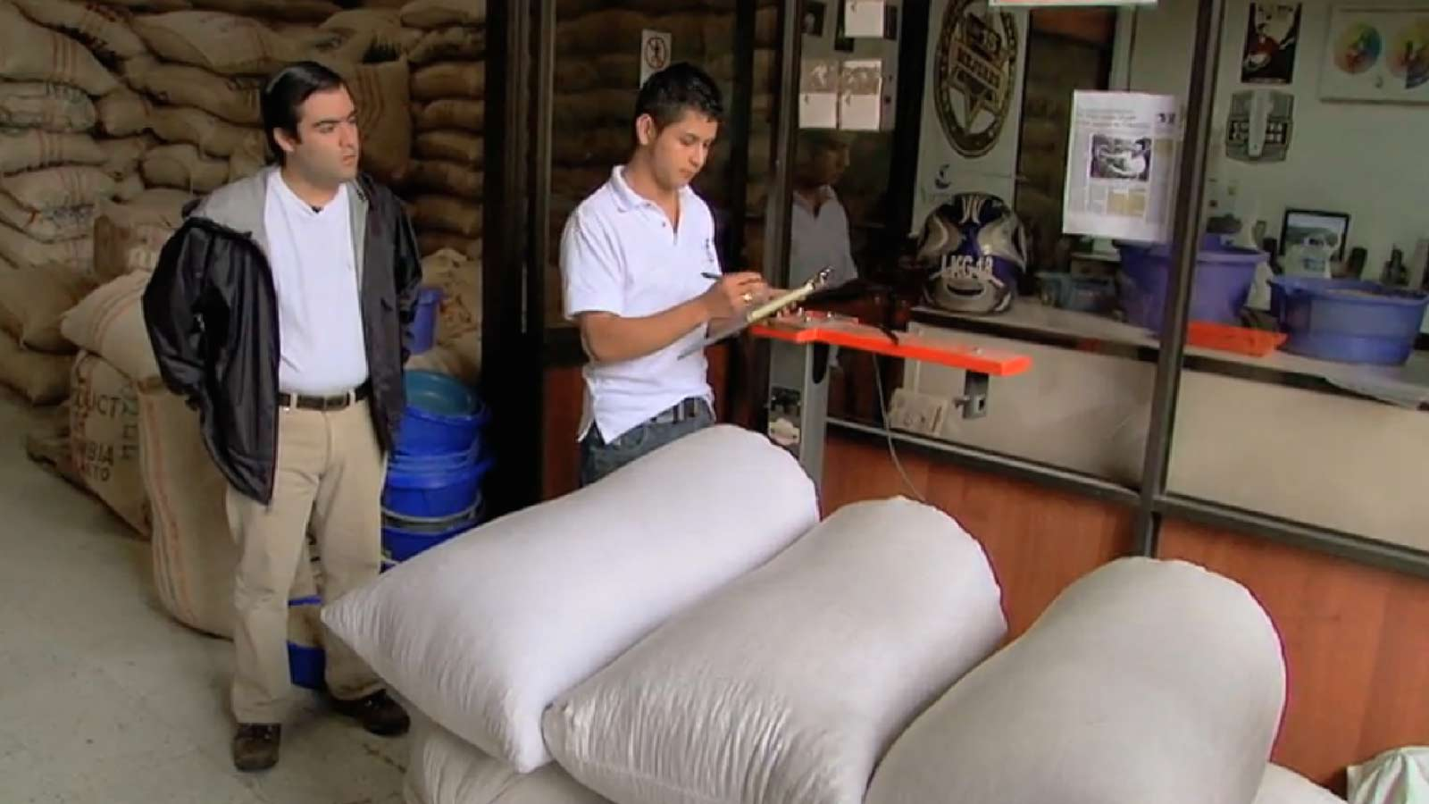 Coffee being delivered in Popayan, similar to the process elsewhere in Colombia