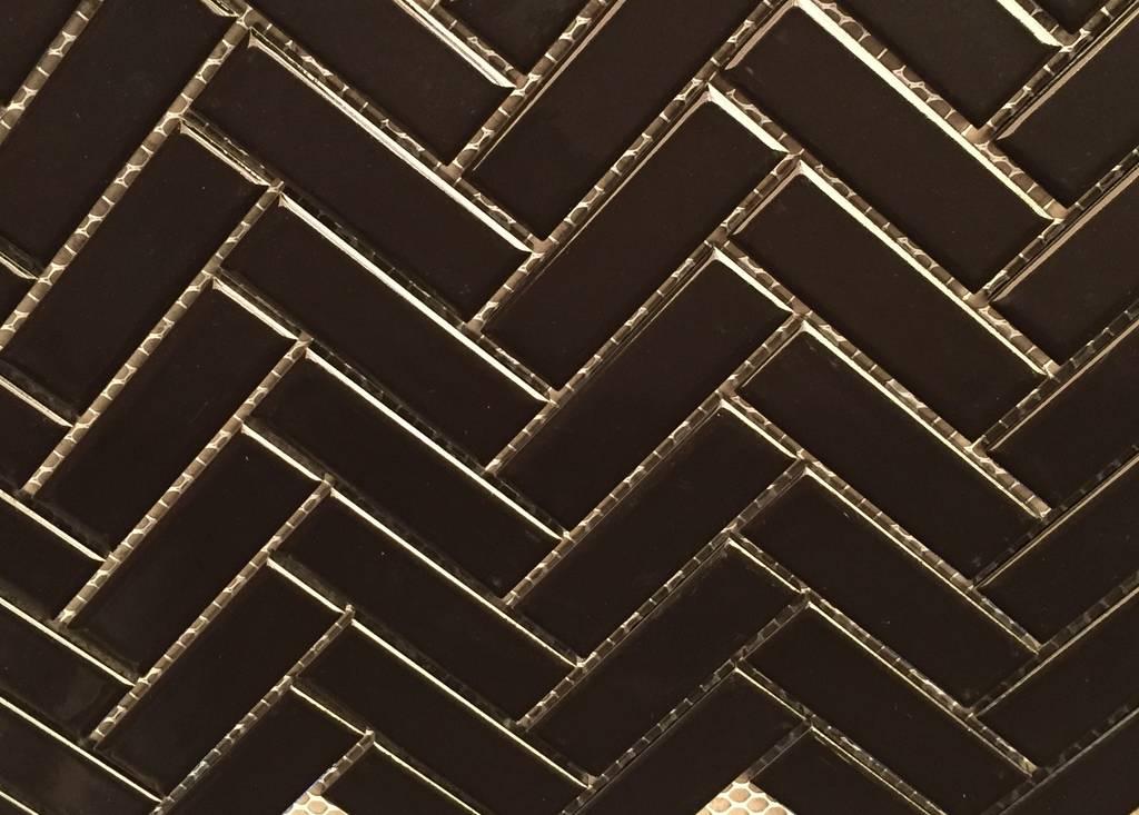 Glazed Herringbone Mosaic Black Gloss