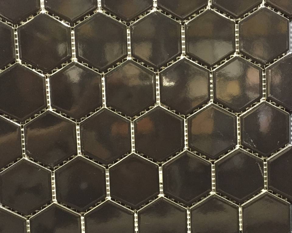 Glazed Hexagon Mosaic Black Gloss