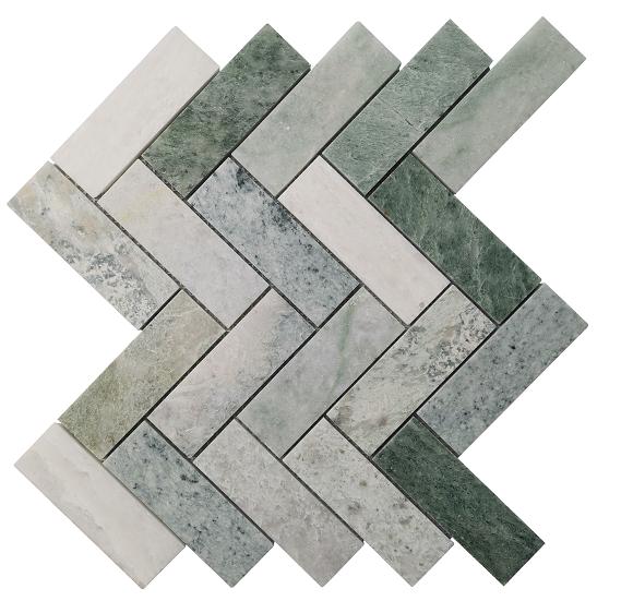 Entiva Stone Herringbone Green 40*120*7MM Mosaic