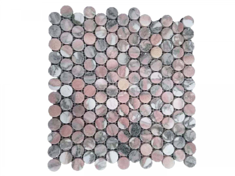 Entiva Stone Penny Round Pink Mosaic